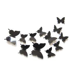 Väggdekoration 12-pack Fjärilar 3D Väggdekal Stickers Väggdekor svart