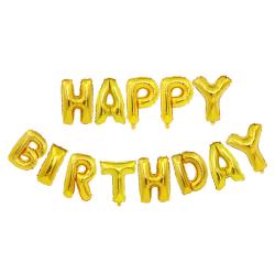 Happy Birthday Ballonger Fest Födelsedag Kalas Guld guld