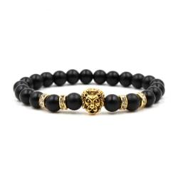 Handgjort Armband Svart Sten och Guld Lejon svart