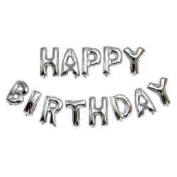 Happy Birthday Ballonger Fest Födelsedag Kalas Silver silver