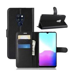 Huawei P20 Plånboksfodral Svart Läder Skinn Fodral svart
