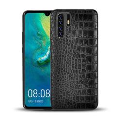 Huawei P30 Mobilskal Svart Läder Skinn Krokodil Skal svart