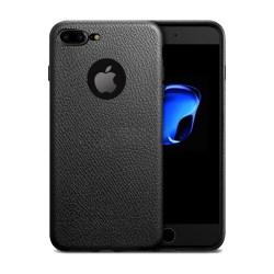 iPhone 7 8 Plus Mobilskal Svart Läder Skinn svart