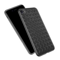iPhone 8 Plus Mobilskal Flätat Svart Läder Skinn svart