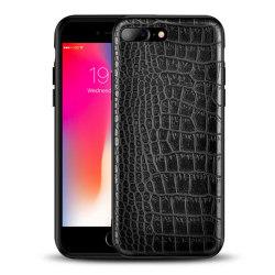 iPhone 8 Plus Mobilskal Svart Läder Skinn Krokodil Skal svart