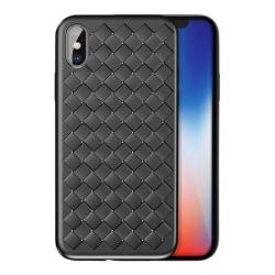 iPhone X Mobilskal Flätat Svart Läder Skinn svart
