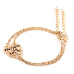 Pararmband Armband för Kompisar Par Partners in Crime Guld guld