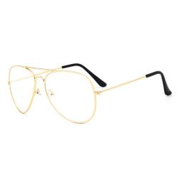 Retro Pilot Aviator Glasögon Guld Klart Glas utan Styrka guld