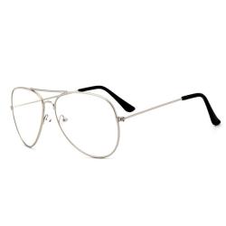 Retro Pilot Aviator Glasögon Silver Klart Glas utan Styrka silver