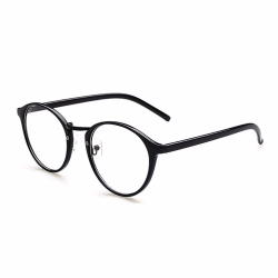 Retro Runda/Ovala Glasögon Svart Klart Glas utan Styrka svart