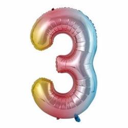 Stor Sifferballong Flerfärgad Regnbåge Födelsedag Fest 102cm 3 flerfärgad
