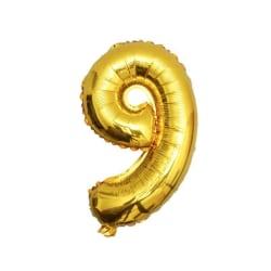 Stor Sifferballong i Guld för Födelsedag Fest 102cm - 9 guld
