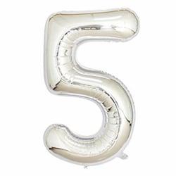 Stor Sifferballong i Silver för Födelsedag Fest 102cm - 5 silver