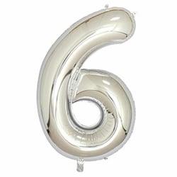 Stor Sifferballong i Silver för Födelsedag Fest 102cm - 6 silver