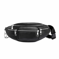 Svart Midjeväska Magväska Bum Bag Cross Body Väska Skinn Läder svart
