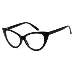 Svarta Retro Cateye Glasögon Klarglas Klart Glas utan Styrka svart