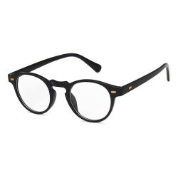 Svarta Runda Glasögon Klart Glas utan Styrka Klarglas svart