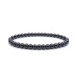 Trendigt Armband 6mm Svarta Stenar Stenpärlor svart