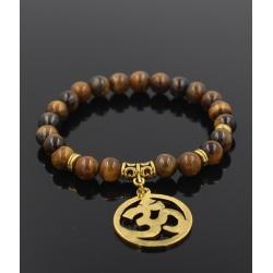 Trendigt Armband Mantra Guld Bruna Tigereye-stenar brun