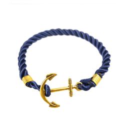 Trendigt Armband Rep med Ankare i Metall (Blå/Guld) blå
