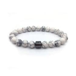 Trendigt Armband Sten Vit Marmor och Hematit vit