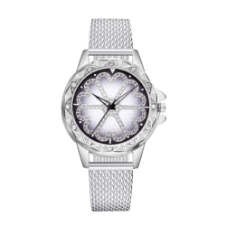 Unik Klocka Silver med Mesh Armband Strass Kristaller silver