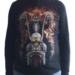 M-Empire - T-Shirt (Långärm) - Dödskalle & Motorcykel Svart M