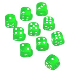 10st tärningar 16mm till spel sällskapsspel brädspel lättrul Grön