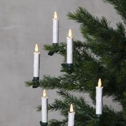 Vacker Trådlös Julgransbelysning Flamme med 10 ljus TIMER Fjä