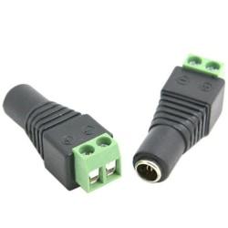 1st DC-Ström-Power-kontakt hona 5.5x2.1mm med skruvanslutning