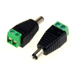1st DC-Ström-Power-kontakt hane 5.5x2.1mm med skruvanslutning