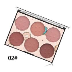 6 färger 6 färger Face Blush Palette Flame Brushes 02