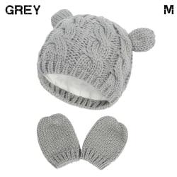 Nyfödda stickade mössor Baby vintermössa med handskar Set GRAY M