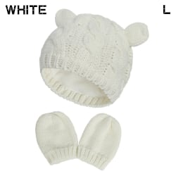 Nyfödda stickade mössor Baby vintermössa med handskar Set WHITE L