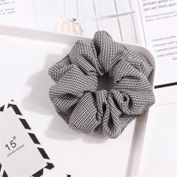 Scrunchie Dot Plaid Print Stretch Headband 4-BLACK