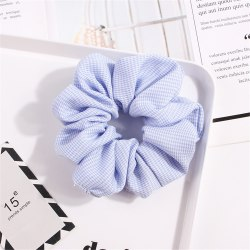 Scrunchie Dot Plaid Print Stretch Headband 4-LIGHT BLUE