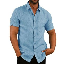 Kortärmade Slim Fit-skjortor LJUSBLÅ XL Light blue XL