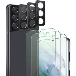 3-Pack Härdat Glas för Samsung Galaxy S21 & 3-Pack Linsskydd Transparent