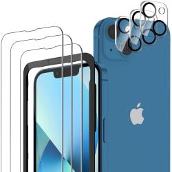 6-pack Skärmskydd iPhone 13 + Ram Stark Härdat Glas C4U® Transparent iPhone 13 (6.1)