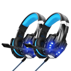 2pack Gaming headset hörlurar C4U® G9000 för PS5 - PS4 - Pro Blå
