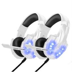 2pack Gaming headset hörlurar C4U® G9000 Vit för PS5 - PS4 - Pro Vit