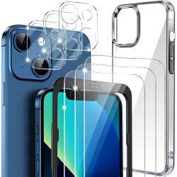 iPhone 13 [7-PACK] 6x Härdat glas + Lins + 1x Silkon Skal TPU Transparent iPhone 13