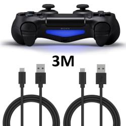 2-Pack Playstation 4 / PS4 Laddkabel För handkontroll 3m, 3meter Svart