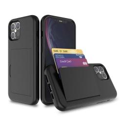 iPhone 12 / 12 Pro Stötdämpande korthållare skal fodral mobilska Svart