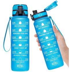 Sportvattenflaska med motiverande tidsmarkör fruktfilter BPA-fri Blå