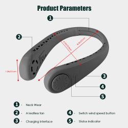 1 st bärbar halsfläkt USB-laddning handfri bärbar halsfläkt Black