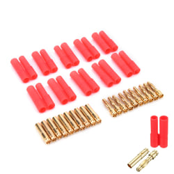 10-pack HXT 4mm kula banankontakter med rött hölje för RC-kon