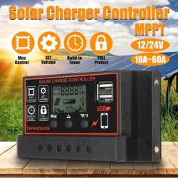 10A-60A MPPT 12V / 24V Solar Charger Controller USB Dual Solar Pa 30A