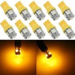 10st Gul T10 Wedge 5-SMD 5050 5W5 LED-skyltlampor C