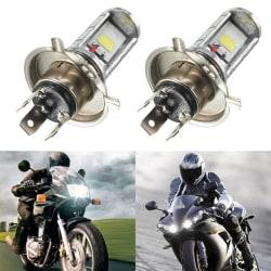 1PCS Motorcykel H4 COB LED-strålkastare Hi / Lo Beam Front Light Lam White